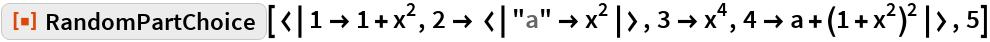 """ResourceFunction[  """"606d4f46-9ed8-442a-9149-2decde5643d3""""][< 1 -> 1 + x^2, 2 -> < """"a"""" -> x^2 >, 3 -> x^4, 4 -> a + (1 + x^2)^2 >, 5]"""