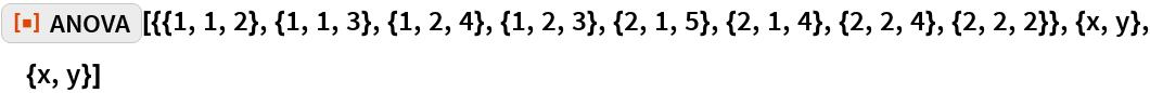 """ResourceFunction[  """"ANOVA""""][{{1, 1, 2}, {1, 1, 3}, {1, 2, 4}, {1, 2, 3}, {2, 1, 5}, {2, 1, 4}, {2, 2, 4}, {2, 2, 2}}, {x, y}, {x, y}]"""