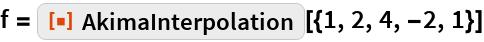 "f = ResourceFunction[""AkimaInterpolation""][{1, 2, 4, -2, 1}]"