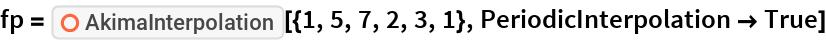 "fp = ResourceFunction[""AkimaInterpolation""][{1, 5, 7, 2, 3, 1}, PeriodicInterpolation -> True]"