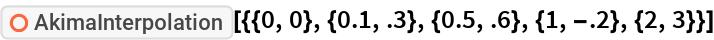 "ResourceFunction[  ""AkimaInterpolation""][{{0, 0}, {0.1, .3}, {0.5, .6}, {1, -.2}, {2, 3}}]"