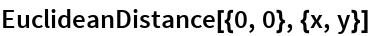 EuclideanDistance[{0, 0}, {x, y}]
