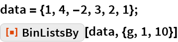 "data = {1, 4, -2, 3, 2, 1}; ResourceFunction[""BinListsBy""][data, {g, 1, 10}]"