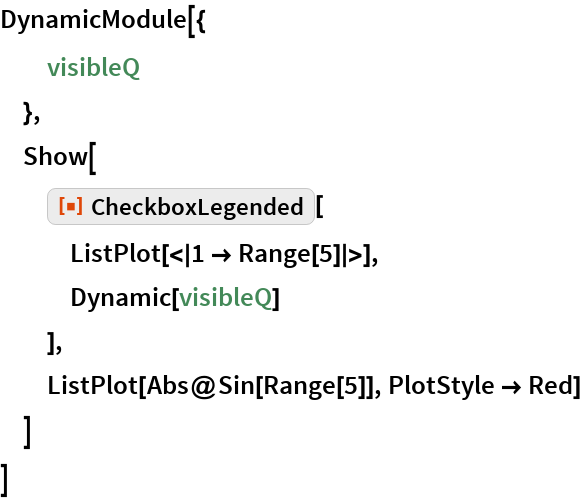 """DynamicModule[{   visibleQ   },  Show[   ResourceFunction[""""CheckboxLegended""""][    ListPlot[<