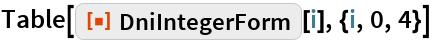 "Table[ResourceFunction[""DniIntegerForm""][i], {i, 0, 4}]"