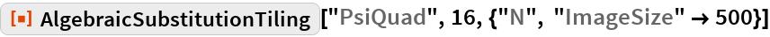 "ResourceFunction[  ""AlgebraicSubstitutionTiling""][""PsiQuad"", 16, {""N"", ""ImageSize"" -> 500}]"
