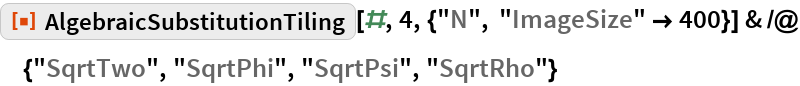 "ResourceFunction[""AlgebraicSubstitutionTiling""][#, 4, {""N"", ""ImageSize"" -> 400}] & /@ {""SqrtTwo"", ""SqrtPhi"", ""SqrtPsi"", ""SqrtRho""}"