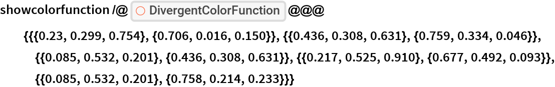 """showcolorfunction /@ ResourceFunction[   """"DivergentColorFunction""""] @@@ {{{0.23, 0.299, 0.754}, {0.706, 0.016,       0.150}}, {{0.436, 0.308, 0.631}, {0.759, 0.334, 0.046}}, {{0.085, 0.532, 0.201}, {0.436, 0.308, 0.631}}, {{0.217,       0.525, 0.910}, {0.677, 0.492, 0.093}}, {{0.085, 0.532, 0.201}, {0.758, 0.214, 0.233}}}"""