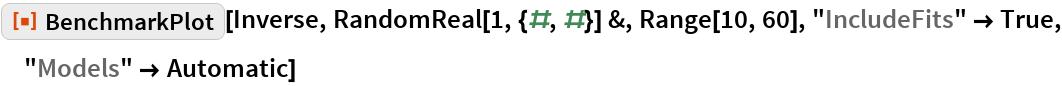 "ResourceFunction[""BenchmarkPlot""][Inverse, RandomReal[1, {#, #}] &, Range[10, 60], ""IncludeFits"" -> True, ""Models"" -> Automatic]"