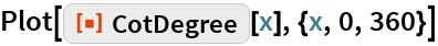 "Plot[ResourceFunction[""CotDegree""][x], {x, 0, 360}]"
