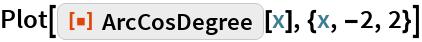 "Plot[ResourceFunction[""ArcCosDegree""][x], {x, -2, 2}]"