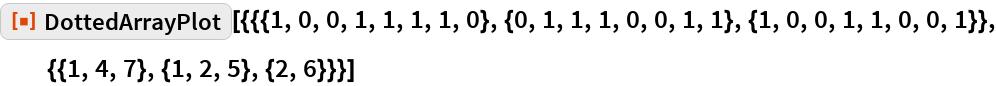 """ResourceFunction[  """"DottedArrayPlot""""][{{{1, 0, 0, 1, 1, 1, 1, 0}, {0, 1, 1, 1, 0, 0, 1, 1}, {1, 0, 0, 1, 1, 0, 0, 1}}, {{1, 4, 7}, {1, 2, 5}, {2, 6}}}]"""