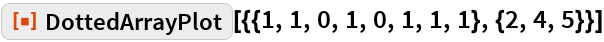 """ResourceFunction[  """"DottedArrayPlot""""][{{1, 1, 0, 1, 0, 1, 1, 1}, {2, 4, 5}}]"""