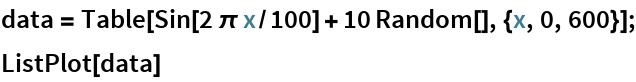 data = Table[Sin[2 \[Pi] x/100] + 10 Random[], {x, 0, 600}]; ListPlot[data]