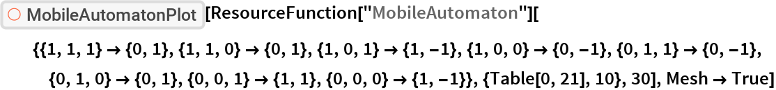"ResourceFunction[""MobileAutomatonPlot""][  ResourceFunction[    ""MobileAutomaton""][{{1, 1, 1} -> {0, 1}, {1, 1, 0} -> {0, 1}, {1, 0, 1} -> {1, -1}, {1, 0, 0} -> {0, -1}, {0, 1, 1} -> {0, -1}, {0,       1, 0} -> {0, 1}, {0, 0, 1} -> {1, 1}, {0, 0, 0} -> {1, -1}}, {Table[0, 21], 10}, 30], Mesh -> True]"