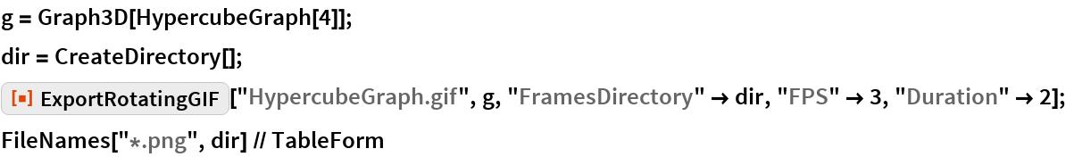 "g = Graph3D[HypercubeGraph[4]]; dir = CreateDirectory[]; ResourceFunction[""ExportRotatingGIF""][""HypercubeGraph.gif"", g, ""FramesDirectory"" -> dir, ""FPS"" -> 3, ""Duration"" -> 2]; FileNames[""*.png"", dir] // TableForm"