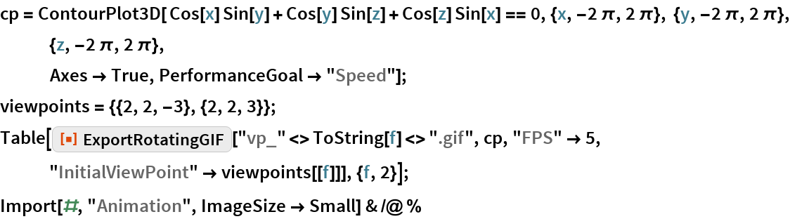 """cp = ContourPlot3D[ Cos[x] Sin[y] + Cos[y] Sin[z] + Cos[z] Sin[x] == 0, {x, -2 \[Pi], 2 \[Pi]}, {y, -2 \[Pi], 2 \[Pi]}, {z, -2 \[Pi], 2 \[Pi]},    Axes -> True, PerformanceGoal -> """"Speed""""]; viewpoints = {{2, 2, -3}, {2, 2, 3}}; Table[ResourceFunction[""""ExportRotatingGIF""""][    """"vp_"""" <> ToString[f] <> """".gif"""", cp, """"FPS"""" -> 5, """"InitialViewPoint"""" -> viewpoints[[f]]], {f, 2}]; Import[#, """"Animation"""", ImageSize -> Small] & /@ %"""
