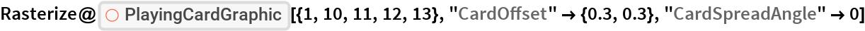 "Rasterize@  ResourceFunction[""PlayingCardGraphic""][{1, 10, 11, 12, 13}, ""CardOffset"" -> {0.3, 0.3}, ""CardSpreadAngle"" -> 0]"