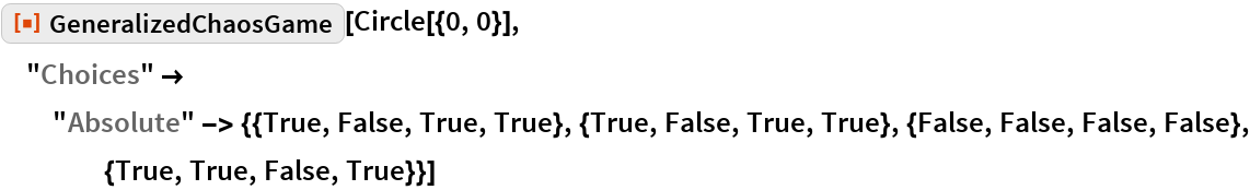 "ResourceFunction[""GeneralizedChaosGame""][Circle[{0, 0}], ""Choices"" -> ""Absolute"" -> {{True, False, True, True}, {True, False, True, True}, {False, False, False, False}, {True, True, False, True}}]"