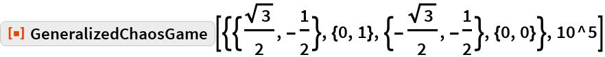 """ResourceFunction[  """"GeneralizedChaosGame""""][{{Sqrt[3]/2, -(1/2)}, {0, 1}, {-(Sqrt[3]/2), -(1/2)}, {0, 0}}, 10^5]"""