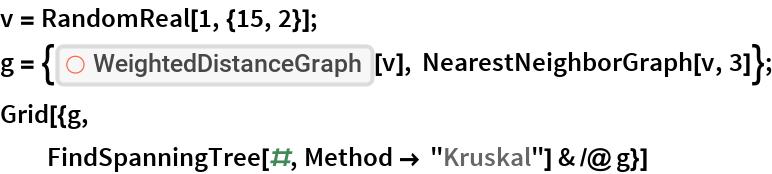 "v = RandomReal[1, {15, 2}]; g = {ResourceFunction[""WeightedDistanceGraph""][v], NearestNeighborGraph[v, 3]}; Grid[{g, FindSpanningTree[#, Method -> ""Kruskal""] & /@ g}]"