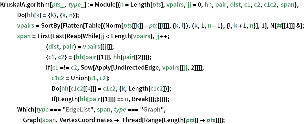 "KruskalAlgorithm[pts_, type_] := Module[{n = Length[pts], vpairs, jj = 0, hh, pair, dist, c1, c2, c1c2, span}, Do[hh[k] = {k}, {k, n}];    vpairs = SortBy[Flatten[       Table[{Norm[pts[[k]] - pts[[l]]], {k, l}}, {k, 1, n - 1}, {l, k + 1, n}], 1], N[#[[1]]] &];    span = First[Last[Reap[While[jj < Length[vpairs], jj++;         {dist, pair} = vpairs[[jj]];         {c1, c2} = {hh[pair[[1]]], hh[pair[[2]]]};         If[c1 =!= c2, Sow[Apply[UndirectedEdge, vpairs[[jj, 2]]]];          c1c2 = Union[c1, c2];          Do[hh[c1c2[[k]]] = c1c2, {k, Length[c1c2]}];          If[Length[hh[pair[[1]]]] == n, Break[]];];]]]];    Which[type === ""EdgeList"", span, type === ""Graph"", Graph[span, VertexCoordinates -> Thread[Range[Length[pts]] -> pts]]]];"