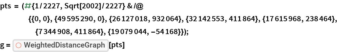 "pts = (# {1/2227, Sqrt[2002]/2227} & /@     {{0, 0}, {49595290, 0}, {26127018, 932064}, {32142553, 411864}, {17615968, 238464}, {7344908, 411864}, {19079044, -54168}}); g = ResourceFunction[""WeightedDistanceGraph""][pts]"