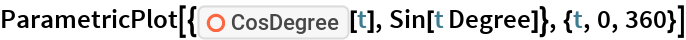 "ParametricPlot[{ResourceFunction[""CosDegree""][t], Sin[t Degree]}, {t, 0, 360}]"